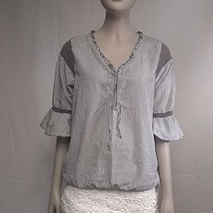 Free People Top Size 6 Gray & White Striped